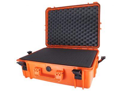Valise orange avec mousse prédécoupée